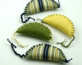 Cat Toys with Catnip  - Colorful Crescent Monkey Mice in Sage Felt; Pale Yellow Felt; Navy Stripe Cotton (4 Pack)