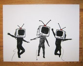 Banksy Canvas (READY TO HANG) - Television Heads White - Multiple Canvas Sizes
