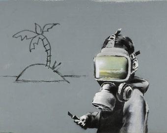 Banksy Print  - Gas Mask Boy  - Multiple Paper Sizes