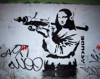 Banksy Print  - Mona Lisa Wall  - Multiple Paper Sizes