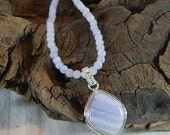 "Blue lace agate necklace 21"" long removable rounded diamond pendant lilac chalcedony semiprecious stone jewelry in a colorful gift bag 11082"