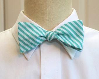 Men's Bow Tie in teal and aqua stripes, geometric print bow tie, wedding party wear, groomsmen gift, groom bow tie, custom handmade bow tie