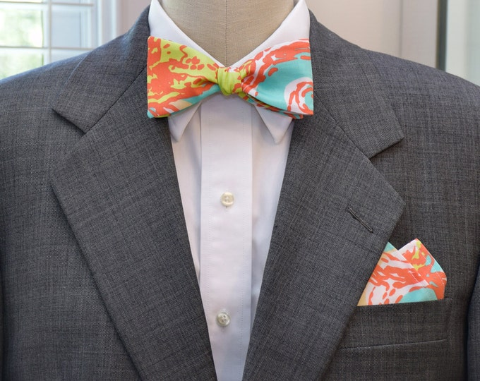 Men's Lilly Pocket Square and Bow Tie, aqua and orange Pearl Clammin', wedding party wear, groomsmen gift, groom bow tie set, men's gift