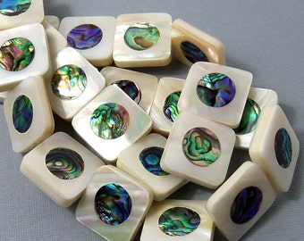 Makabibi Shell with Abalone Shell Inlay, Square, Natural Shell, Artisan Handmade, Unique Focal Bead, Smooth, 20mm, Large, 3pcs - ID 1576