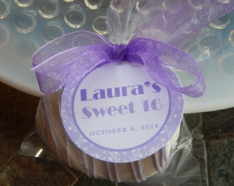 "Sweet 16 Custom Birthday Favor Tags - For Cake Pops - Lollipops - Cookies - Desserts - Party Favors - Quinceañera - (50) 1.5"" Printed Tags"
