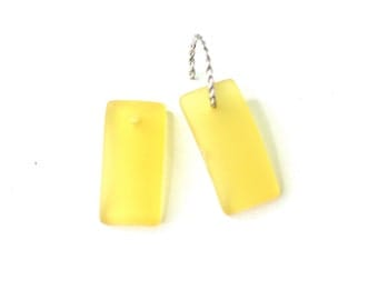 Yellow Sea Glass Rectangle Beads // Short Rectangle Glass Beads // 2 Pieces of 22x11mm Sunshine Beads // Beads for Earrings // Sea Glass