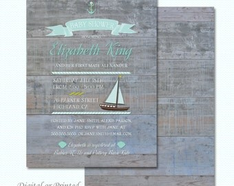 Rustic nautical baby shower invitation - Printed or Digital Version Available