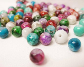 100 x Colourful Opaque Round Glass Beads 6mm Jewellery Craft Making