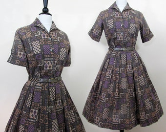 "Full skirt dress set - Full skirt and blouse by ""Personal"" - Purple & tan print - S-M 50s-60s"