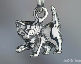 Sterling Silver Small Playful Kitten Charm Cat Cute Baby Kitty .925