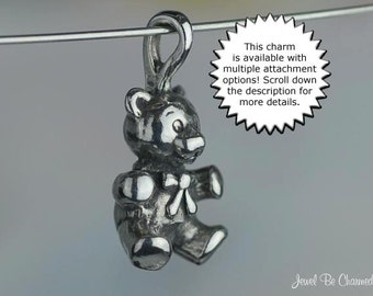 Sterling Silver Teddy Bear CHARM or PENDANT Sweet with Bow Ribbon