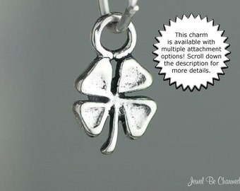 Four Leaf Clover Charm Miniature Sterling Silver Good Luck Lucky Tiny