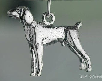 Sterling Silver Vizsla or Weimaraner Charm Dog Breed 3D Solid .925