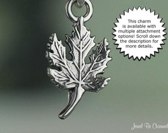 Maple Leaf Charm Sterling Silver Small Tree Leaves or Canada Miniature