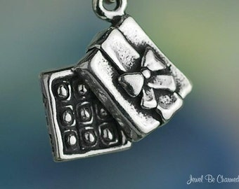 Sterling Silver Box of Chocolates Charm Valentine Candy 3D Solid .925
