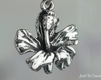 Sterling Silver Hibiscus Charm Tropical Flower Hawaii Solid .925