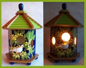Birdhouse Night Light Lamp detailed hand painted design  no. 2