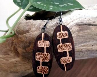 Wooden Earrings - Woodburned Earrings, Earthy, Organic, Outdoorsy