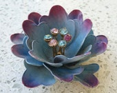 "Vintage Signed CORO Enamel Blue & Purple 3D Mumm Rhinestone Flower Brooch 2-1/4"" Excellent Condition"