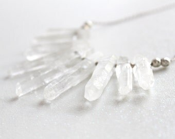 Large Quartz Crystal Point and Sterling Silver Necklace
