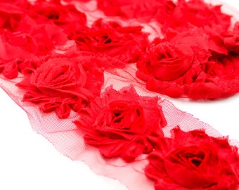 Red shabby flower trim by the yard - shabby rose trim - wholesale flower trim - shabby trim-rose trim-chiffon trim-you pick length
