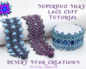 SuperDuo Silky Lace Cuff Tutorial, Two-hole Beadweaving Bracelet Pattern, Silky Bead, O Bead, PDF Instructions, Laura Graham Design