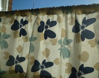 """Blue  Bathroom Kitchen Cafe Curtain Window Valance Navy Beige Funky Floral Rod Pocket Ruched 54"""" x 14 OR 18"""" 100% Cotton"""