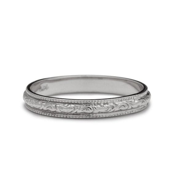Antique Scroll Bands: Vintage Scrolls White Gold Engraved Wedding Ring