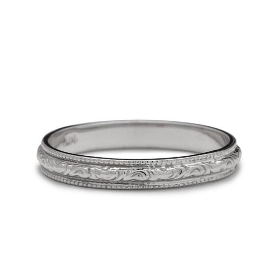 vintage scrolls white gold engraved wedding ring