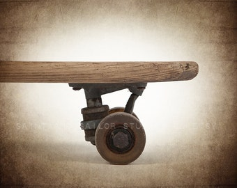 Vintage Wooden Skateboard Close up Photo Print, Skate board room, Wall Decor,  Wall