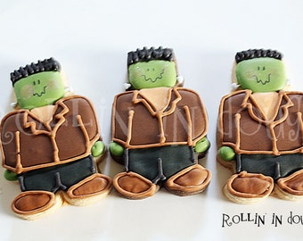 Halloween Cookies, Frankenstein Cookies, Little Frankenstein Cookies - 1 Dozen