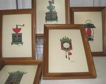 vintage Maple Framed Kitchenware Wall Art - set of 5