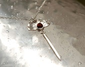 HOLIDAY SALE - 20% OFF - Sterling Silver and Garnet Necklace