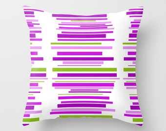 Striped Pillow Cover, Modern Striped Pillow Cover, Purple Green Pillow Cover, Mid Century  Pillow Cover,  Decorative Pillow Cover