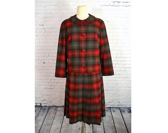 Vintage 1960's Plaid Wool Suit // Vintage Pendleton Plaid Suit // Plaid School Girl Suit w/ Pleated Skirt