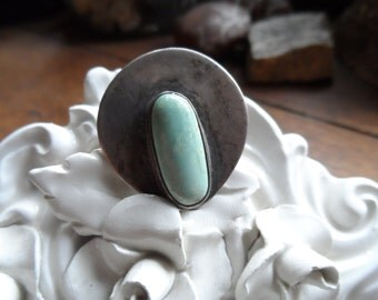 Turquoise and Sterling Brooch