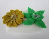 Stocking stuffer - FLOWER SOAP BAR - gifts for teens, gifts for woman, Stocking stuffer for her, gold and green flower