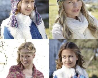 Knitting pattern, cape, helmet, wrist warmers, turban, mittens, sirdar folksong, chunky yarn, No. 9661 Knitting Pattern