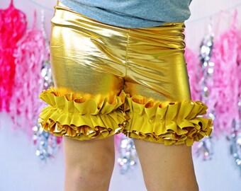 Girls Ruffle Shorts in Metallic Gold Pot of Gold