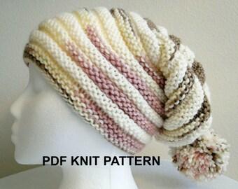 PDF PATTERN Neapolitan Ribbed Knit Stocking Hat in s, m, l sizes