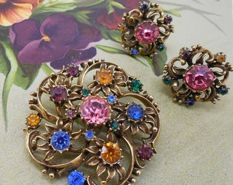 CORO Colorful Rhinestone Brooch & Earrings Set in Antiqued Gold