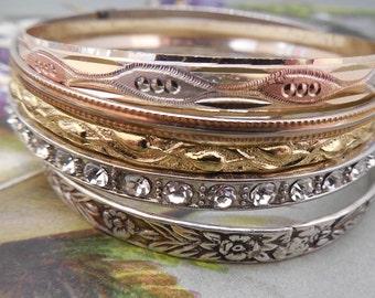 Mixed Lot of 5 Vintage Bangle Bracelets