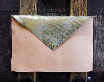 Handmade Natural Veg. Leather and Gold Wash Envelope Clutch