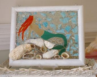 Mermaid Glass Mosaic - Suncatcher - Beach Decor