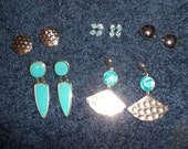 Lot of 5 Pairs of Earrings 70s & 80s Aqua and Silvertone