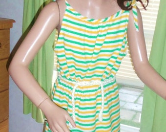 70s Striped Terrycloth Sundress MEDIUM