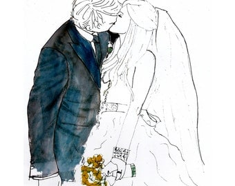 Customized gifts for him, Wedding photo sketch in watercolor, unique wedding day portrait, romantic wedding art
