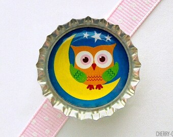Goodnight Owl Bottle Cap Magnet - owl decor, owl birthday party, owl party favors, owl magnets, owl baby shower ideas, owl gifts, night owl