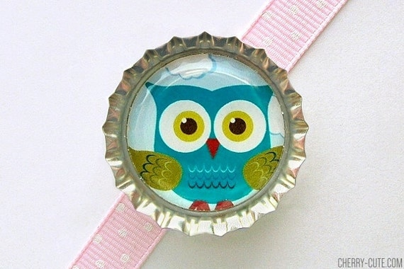 Owl Bottle Cap Magnet, stocking stuffer for kids, party favor, owl decor, owl magnet, owl party favor, fridge magnet, owl baby shower favor