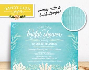 Under the Sea, Beachy Bridal Shower Digital Invitation - DIY Printable